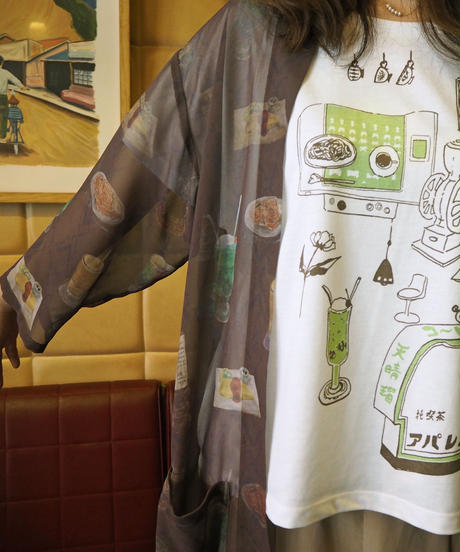 【在庫限り】純喫茶 アパレル 七分袖シフォンカーディガン