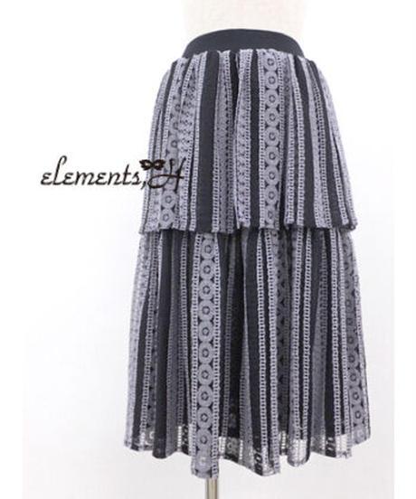 elements,H/エレメンツ,アッシュ 091502P ストライプレーススカート