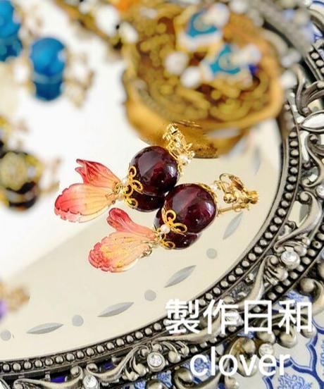製作日和 D-Er-S 珠飾りのイヤリング(ボルドー系)(期間限定アイテム)