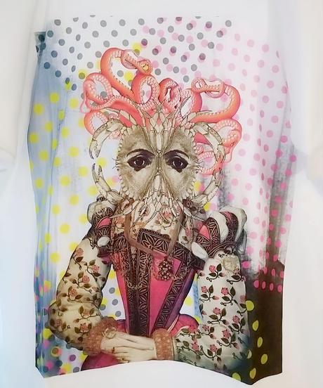 hellbent lab./ヘルベントラボ  ユニセックスTシャツ「海鮮四姉妹・擬態仕損じたタコ婦人dot」(Lサイズ)