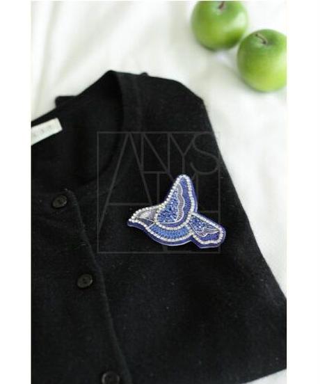 刺繍ブローチ/青い鳥