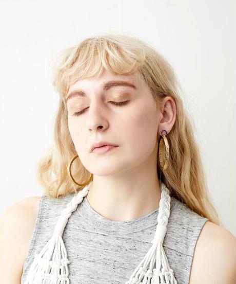 *レザーのフープー*leather earrings