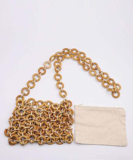 *連なる輪の美*Circle Wood Bead Bag Beige