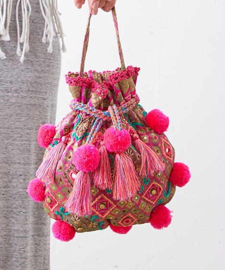*WeLovePOMPOMS*pompoms fringe bag Pink
