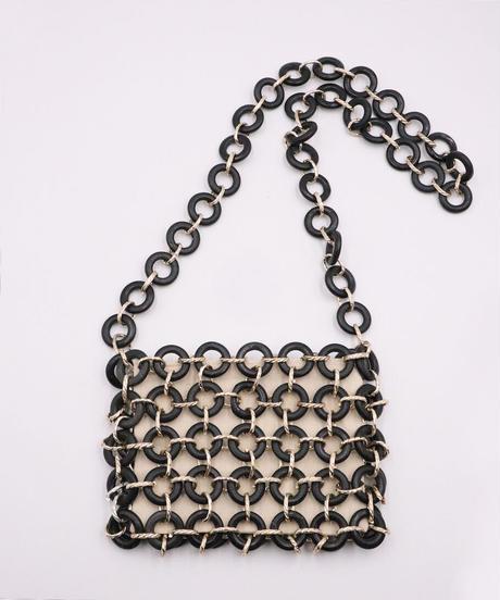 *連なる輪の美*Circle Wood Bead Bag Black