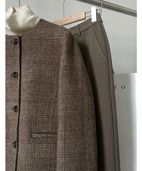 no collar check wool jacket【wool 70%】