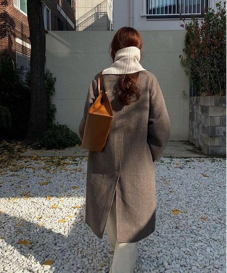 cocoon semi long  coat【wool 60%】/2color