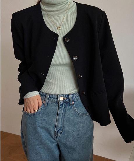 no collar button jacket/3color