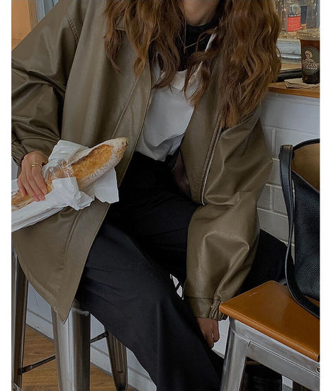 eco leather blouson/3color