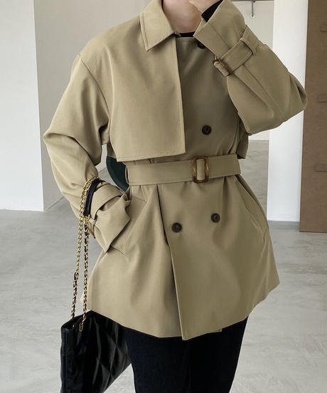back button short trench coat/2color