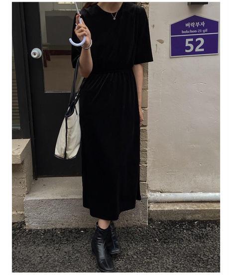 velour half sleeve dress/2color