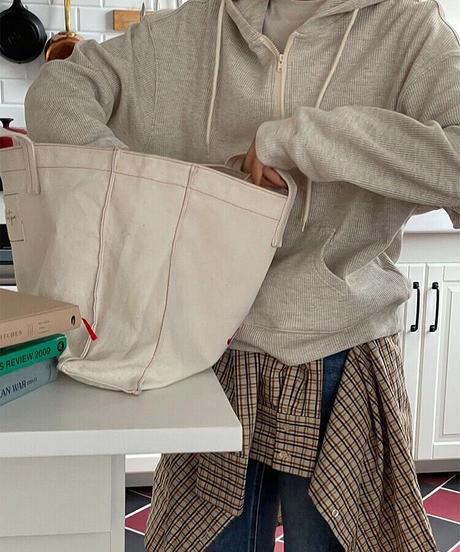 waffle  half zip hoodie/3color