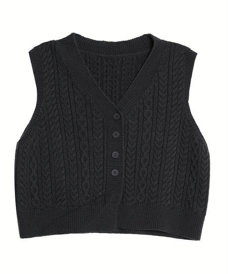 V neck cable knit vest/3color