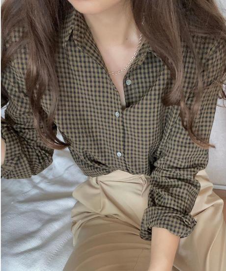 gingham check shirt/3color