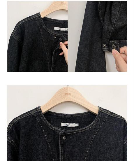 no collar denim jacket/2color