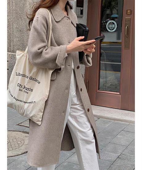 basic semi long coat(wool100%)/2color