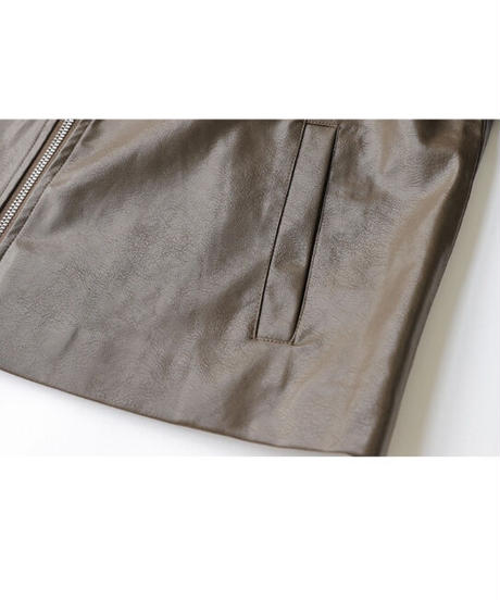 eco leather standard jacket/2color