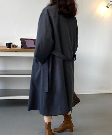 stand collar trench coat/2color