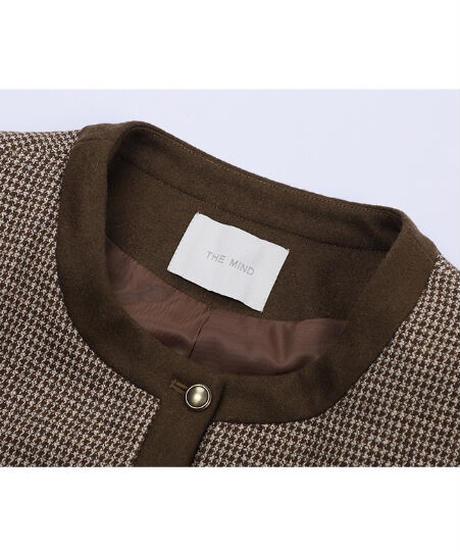 houndstooth no collar jacket/2color