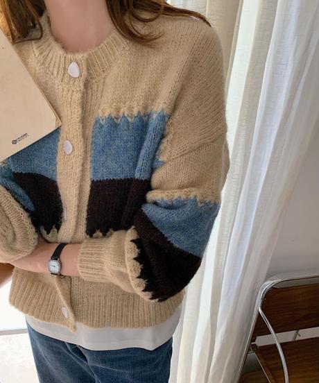 color block knit cardigan