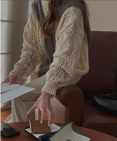 sustainable knit pullover/2color