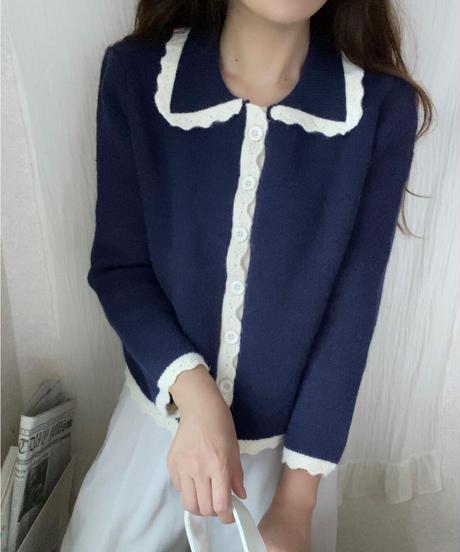 bi-color sweet knit cardigan/2color
