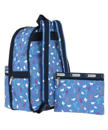 [レスポートサック] lesportsac Basic Backpack Song Birds Blue 7812 D916 バックパック