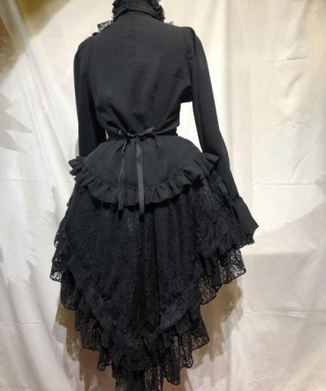 【MARBLE】マーブル 前短・後長V字フリル重ねレース付きスカート:黒レース×黒レース