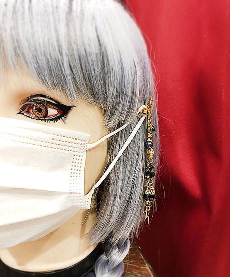 【Estrellas】エストレージャス マスク留め装飾/クロスドロップ/ゴールド×水色