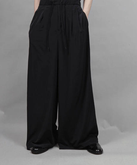 thin polyester wide pants/BLACK