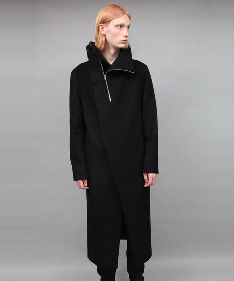 STAND COLLAR ZIP COAT/BLACK