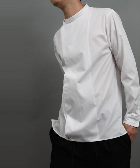 BOTTLENECK METALBUTTON SHIRT WHITE