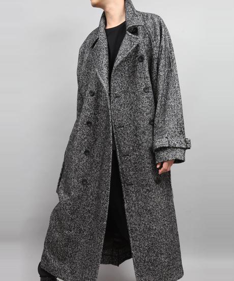 DOUBLE BREASTED TWEED COAT/BLACK