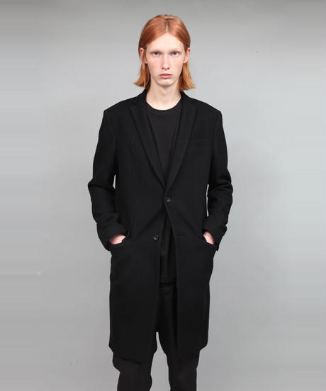 ENGLAND LAMB MELTON CHESTER COAT/BLACK