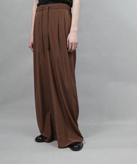 thin polyester wide pants/BROWN