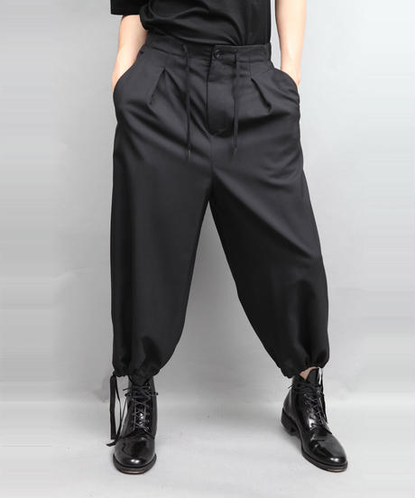 DRAW CODE WIDE PANTS BLACK