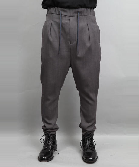 WOOL STRETCH SARROUEL PANTS T.GRAY