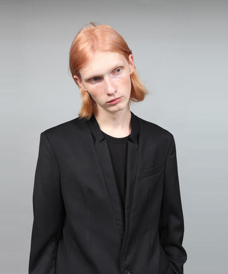 HOLLOW COLLAR JACKET/BLACK