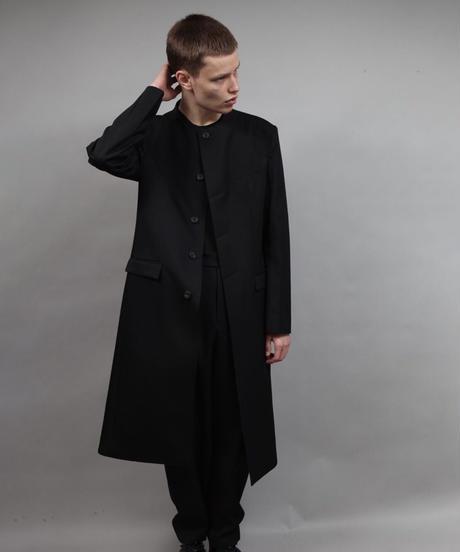 round neck coat/BLACK