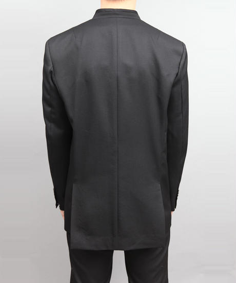 WOOL TWILL NO-COLLAR JACKET