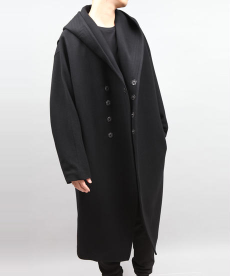 ENGLAND LAMB MELTON HOOD COAT/BLACK