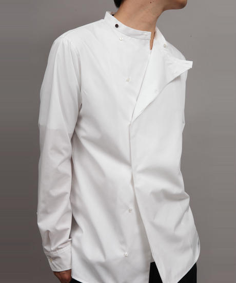 BAND COLLAR SHIRT/WHITE