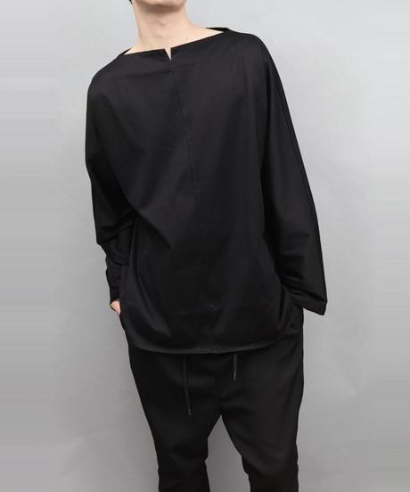 60/2 T-CLOTH SLIT BOAT NECK T-SHIRT/BLACK