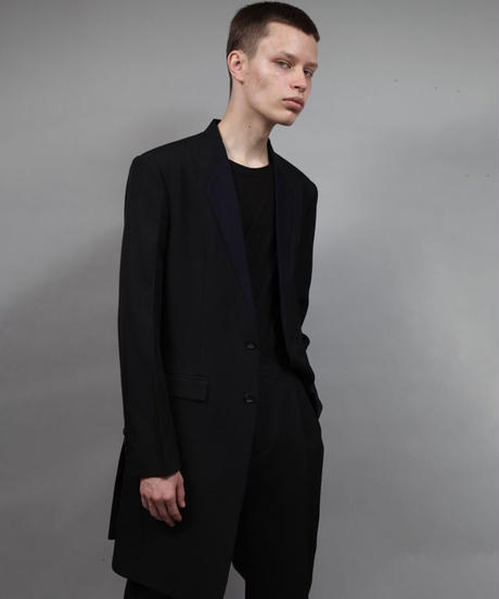 color cloth long jacket/BLACK