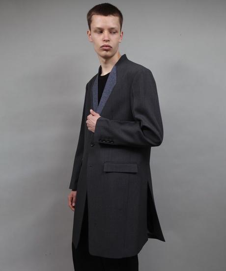 color cloth long jacket/D.GRAY