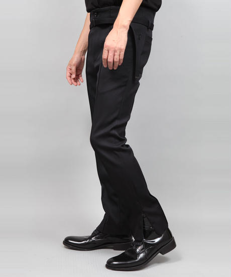 HEM ZIP SLIM PANTS/BLACK