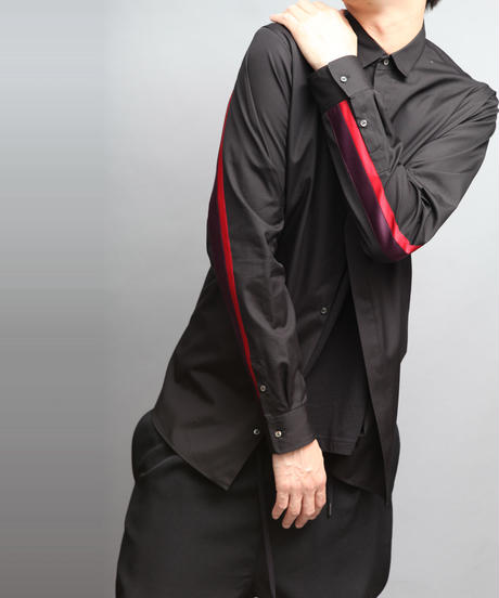 100/2 BROADCLOTH COLOR SCHEME LINE SHIRTS BLACK