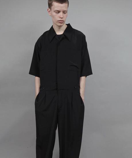 short sleeved jumpsuit/BLACK