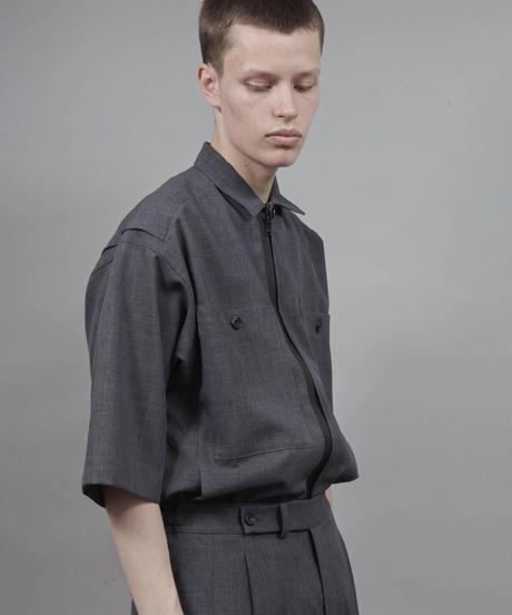 zipup short sleeve shirt/D.GRAY
