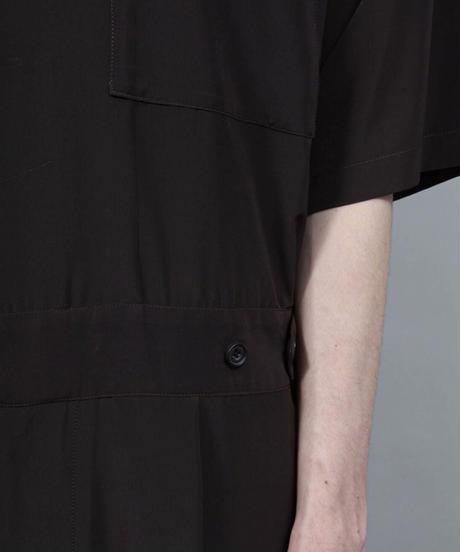 short sleeved jumpsuit/D.BROWN